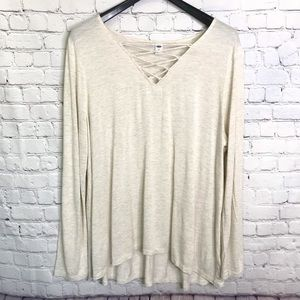 Old Navy long sleeve shirt cream with gold threads